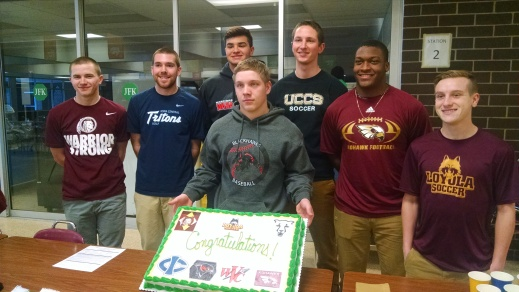 National Signing Day Students Ryan Walker – Loyola – Soccer Nikolas Newcamp – Colorado State-Colorado Springs – Soccer Ross Grekoff – Iowa Central – Golf Davis Sutton – Indian Hills – Golf Blake Hargens – Southeastern - Baseball Terrence Hall - Coe - Football Sammy Lizarraga – Wabash Valley College – Baseball